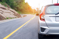 Close up of new silver hatchback car Royalty Free Stock Images