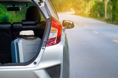Close up of new silver hatchback car parking Royalty Free Stock Photography