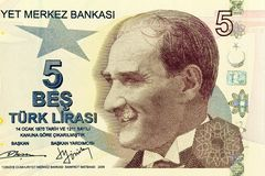 Close up of new 5 TL money. Banknote issued to honor Mustafa Kemal Ataturk who founder Turkish Republic Stock Images