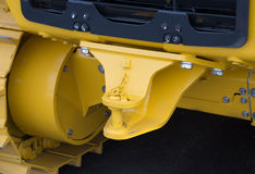 Close up of new tractor hitch with tow bar. Rear view stock images