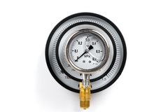 Close-up New Vibration-resistant manometer filled with glycerin. Recursion manometer in a manometer.  Stock Photography