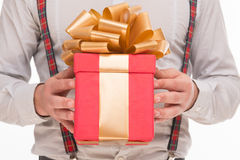 Close-up of New Year of Christmas present or gift Royalty Free Stock Photos