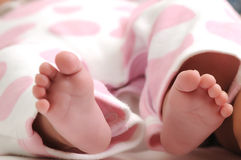 Close-up of newborn baby girl feet Royalty Free Stock Photos