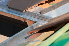 Close-up of a newly installed gutter Stock Images
