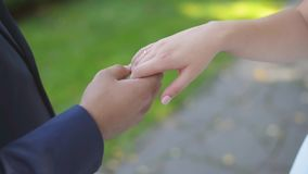 Close up of newlyweds fingers gently touch each other. Happy caucasian couple holding hands. Blurred nature background. stock footage