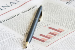 Close-up newspaper of a article. Financial background royalty free stock photo