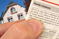 French announcement of the sale of house stock images