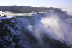 Close up of Niagara Falls in winter, New York state, USA Royalty Free Stock Photography