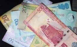 Nicaraguan Cordoba. Close up of Nicaraguan Cordoba bills Stock Photos