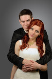 Close up of a nice young wedding couple Royalty Free Stock Image