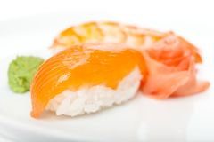 Close up of nigiri sushi. With wasabi, isolated on white Royalty Free Stock Images