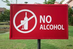 No alcohol sign in the park near residential area stock image