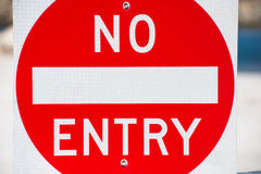 Close up No Entry sign outdoor property Stock Photography