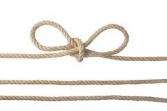 Close-up of a node or knot and two ropes isolated on a white background. Navy and angler knot. stock photography
