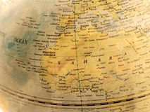 Close up of North Africa on globe, vintage tone Royalty Free Stock Photos