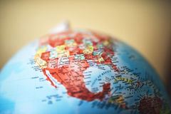 Close up of North America on globe royalty free stock images