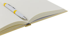 Close up notebook and pen on white background Royalty Free Stock Photography