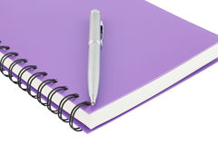 Close up notebook spiral bound and pen on white background Royalty Free Stock Image