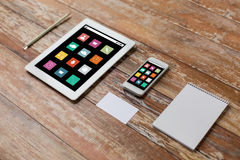 Close up of notebook, tablet pc and smartphone Royalty Free Stock Photography