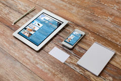 Close up of notebook, tablet pc and smartphone Stock Photo