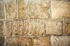 Close-up of notes to God in the Western Wall Royalty Free Stock Photos