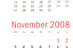 Close up of November 2008. From calendar Stock Image