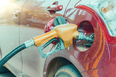 Close up of nozzle car refueling Stock Image
