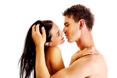 Close up of a nude couple kissing Royalty Free Stock Image