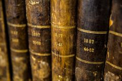 Close-up of a number of very old books. royalty free stock photography