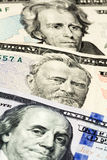 Close-up on the numbers of dollar bills. Twenty, fifty and one hundred Royalty Free Stock Image