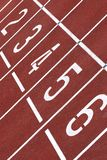 Starting line of an athletics track royalty free stock photo
