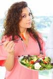 Close-up of a nurse holding salad Royalty Free Stock Photos