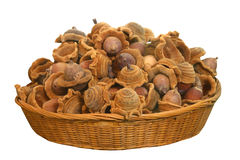 Close up nut in basket Royalty Free Stock Photo