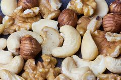 Close up of nuts as a background Royalty Free Stock Images