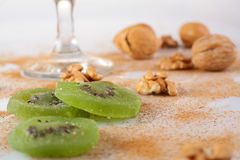 Close up of nuts, kiwis and cinamon Royalty Free Stock Photos