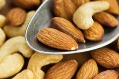 Close up nuts misturado Foto de Stock