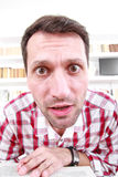 Close up of nutty confused and shocked professor or student with royalty free stock photography