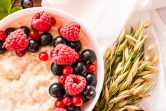 Close-up of oatmeal with fresh raspberries and black currants. Top view Stock Images