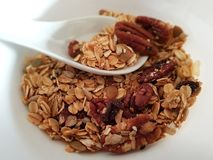 Oats cereal with pecan nuts stock photography