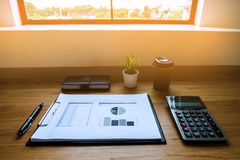 Close up object Business concept. Business workplace on the tabl stock photo