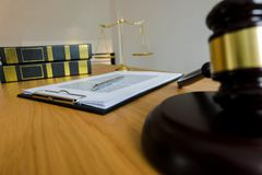 Close up object law concept. Judge gavel with justice lawyers a stock photos