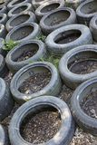 Old car tires used at an obstacle course. A close-up of an obstacle course where old car tires are being used as one of the obstacles royalty free stock photos