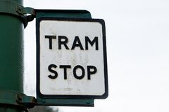 Old retro vintage rusty Tram Stop sign stock images