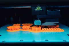 Free Close Up Of 3D Printer While Printing A Three Dimensional Prototype Object Stock Images - 166487934