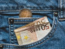 Free Close Up Of A 50 Euro Banknote In A Pocket Royalty Free Stock Images - 141732279