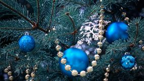 Free Close-up Of A Christmas Tree With Rose Gold And Turquoise Decorations Balls, Snowflakes, Bows, Beads On A Blurry Background Stock Photography - 157662722