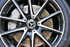 Free Close Up Of A CLA Coupe Mercedes Wheel With Alloy Wheels And Continental Tire. Royalty Free Stock Photos - 153772998