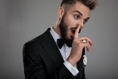 Free Close Up Of A Clumsy Groom Picking His Nose Royalty Free Stock Photography - 161057867