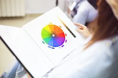 Close Up Of A Female Client Examining Hair Color Chart At The Hairdressing Studio Coloring Dyeing Variety Changing Women Hair Care Stock Image