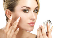 Free Close Up Of A  Of Young Beauty Woman With Mirror Stock Photo - 35075190